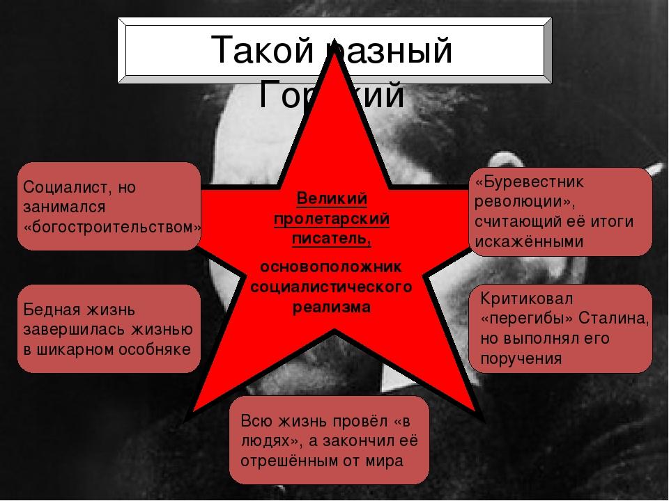 Такой разный Горький Великий пролетарский писатель, основоположник социалист...
