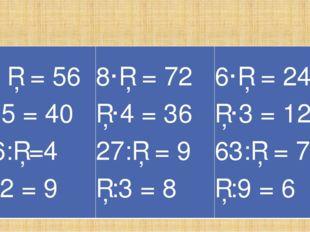 Вставьте пропуски 7· □ = 56 □·5 = 40 16:□=4 □:2 = 9 8·□ = 72 □·4 = 36 27:□ =