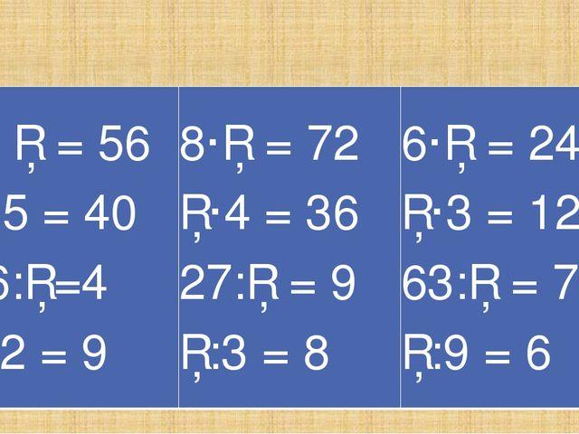 Вставьте пропуски 7· □ = 56 □·5 = 40 16:□=4 □:2 = 9 8·□ = 72 □·4 = 36 27:□ =...