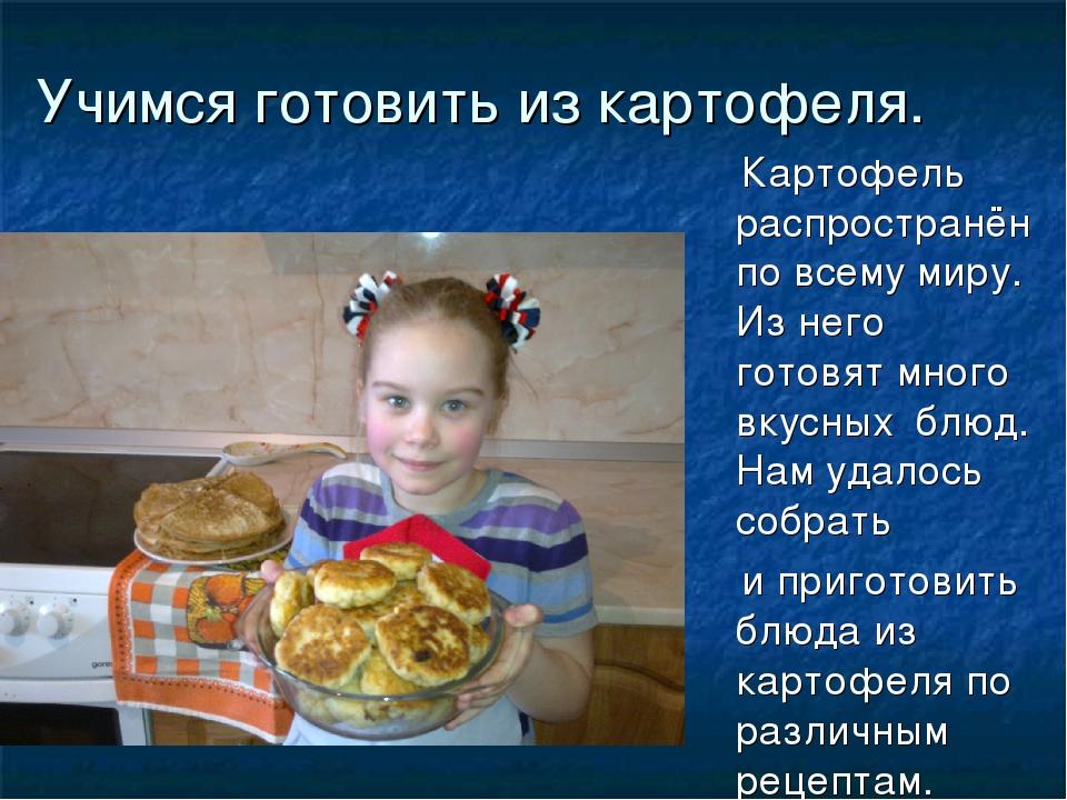 Учимся готовить из картофеля. Картофель распространён по всему миру. Из него...