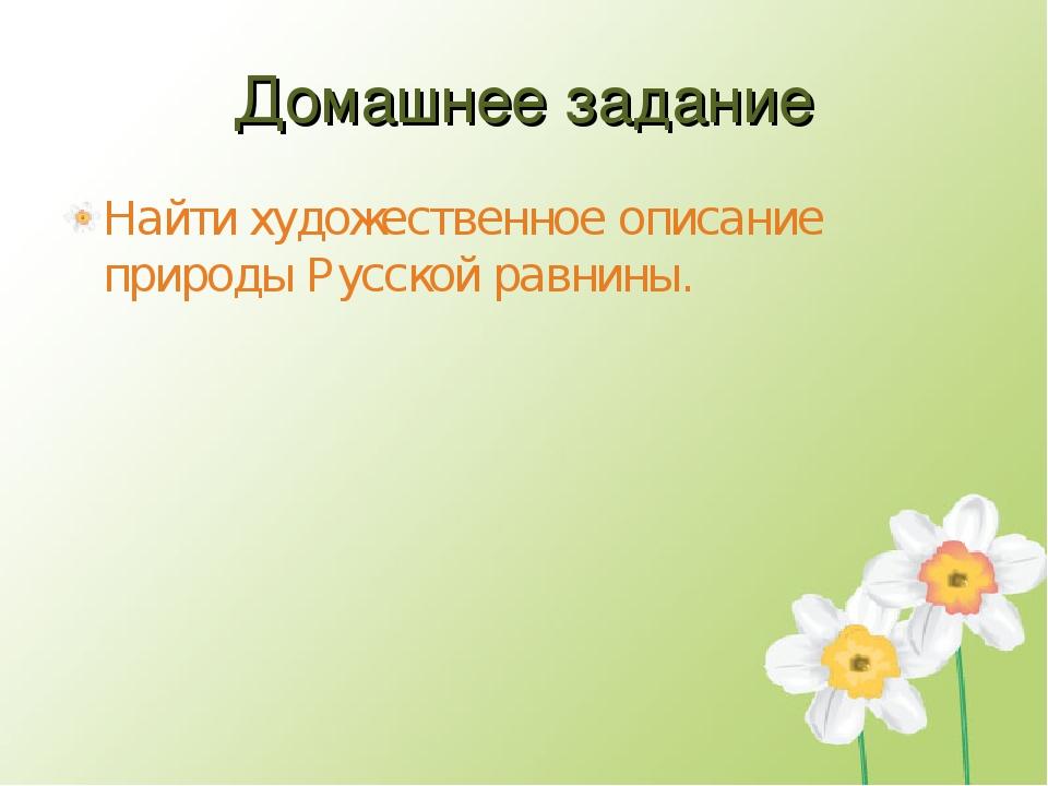 Домашнее задание Найти художественное описание природы Русской равнины.