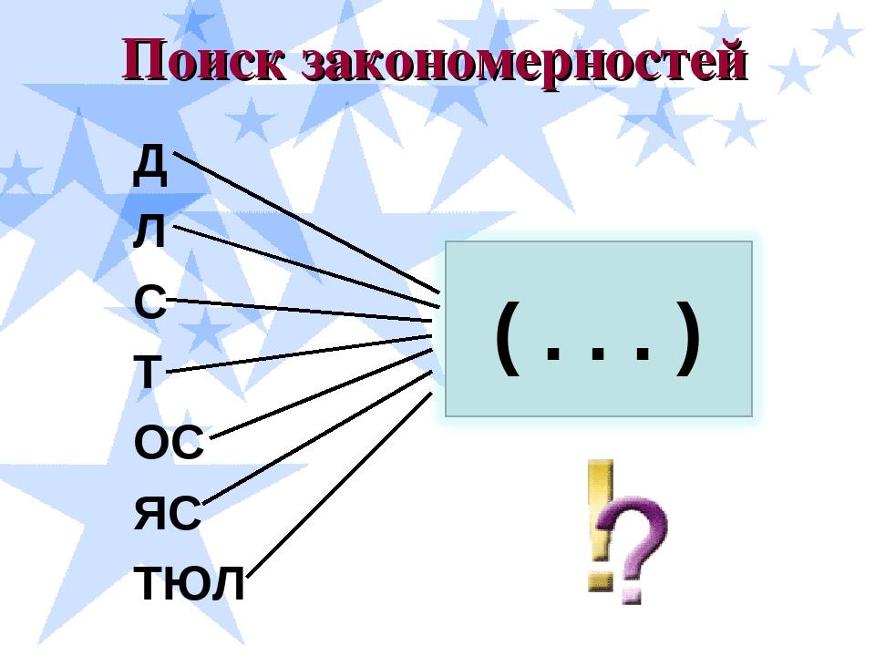 Поиск закономерностей Д Л С Т ОС ЯС ТЮЛ