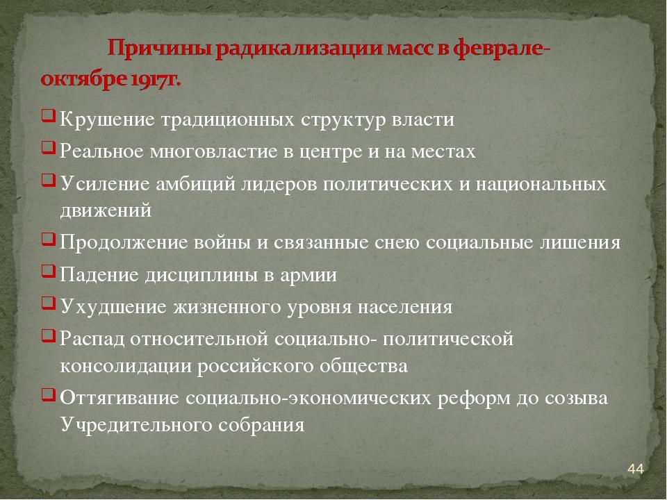 Крушение традиционных структур власти Реальное многовластие в центре и на мес...