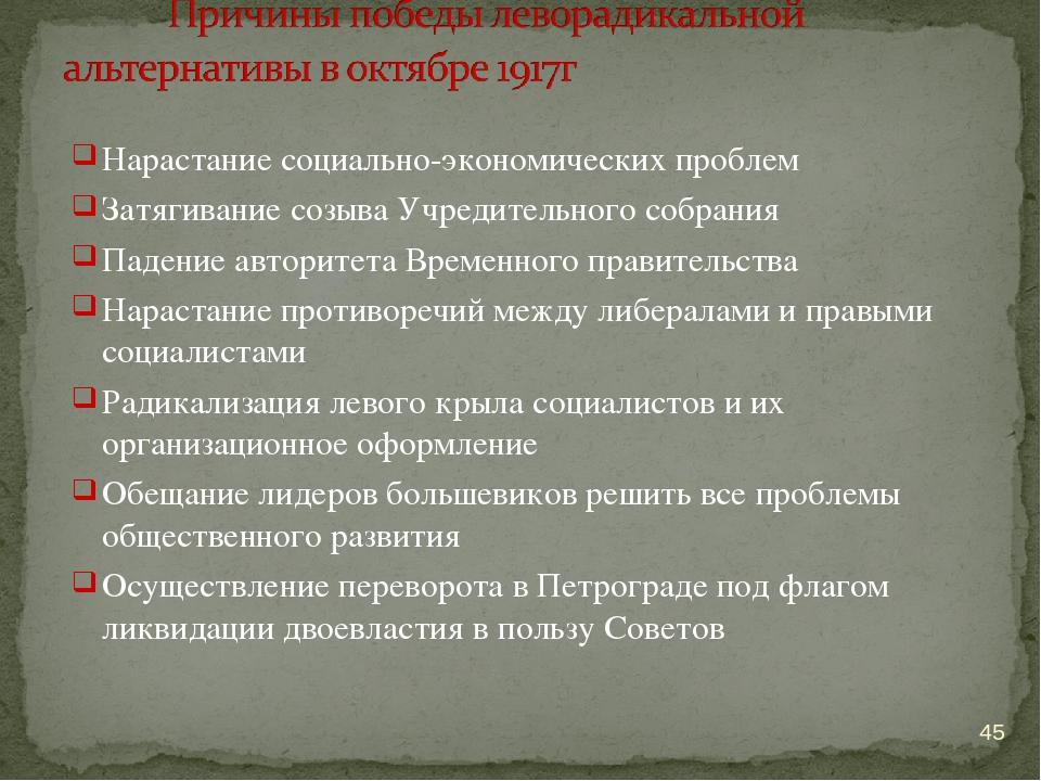 Нарастание социально-экономических проблем Затягивание созыва Учредительного...