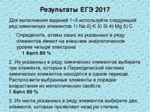 Результаты ЕГЭ 2017 Для выполнения заданий 1–3 используйте следующий ряд хими
