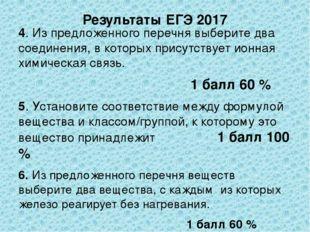 Результаты ЕГЭ 2017 4. Из предложенного перечня выберите два соединения, в ко