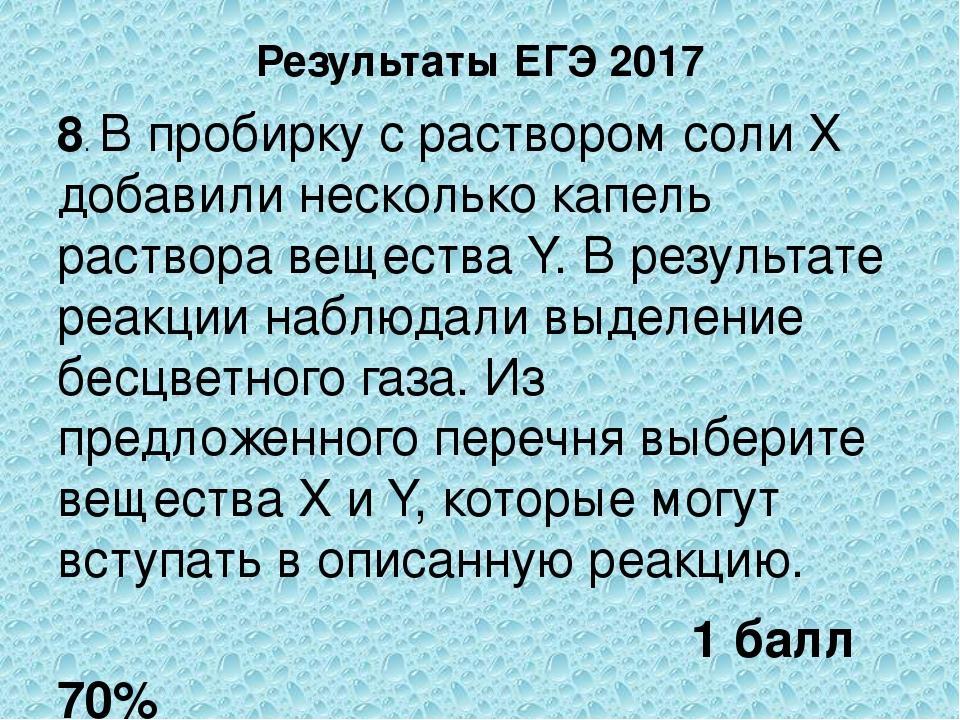 Результаты ЕГЭ 2017 8. В пробирку с раствором соли Х добавили несколько капел...
