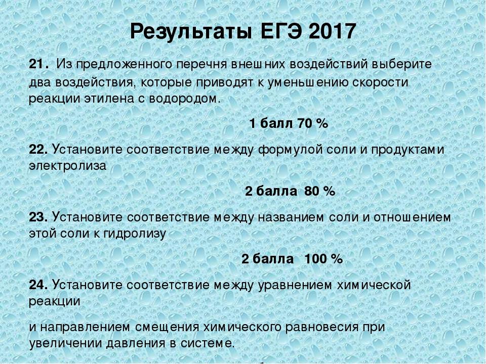 Результаты ЕГЭ 2017 21. Из предложенного перечня внешних воздействий выберите...