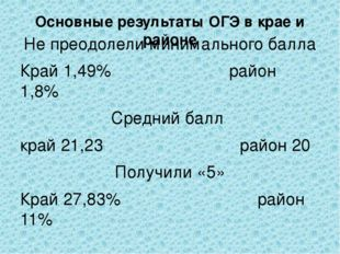 Основные результаты ОГЭ в крае и районе Не преодолели минимального балла Край