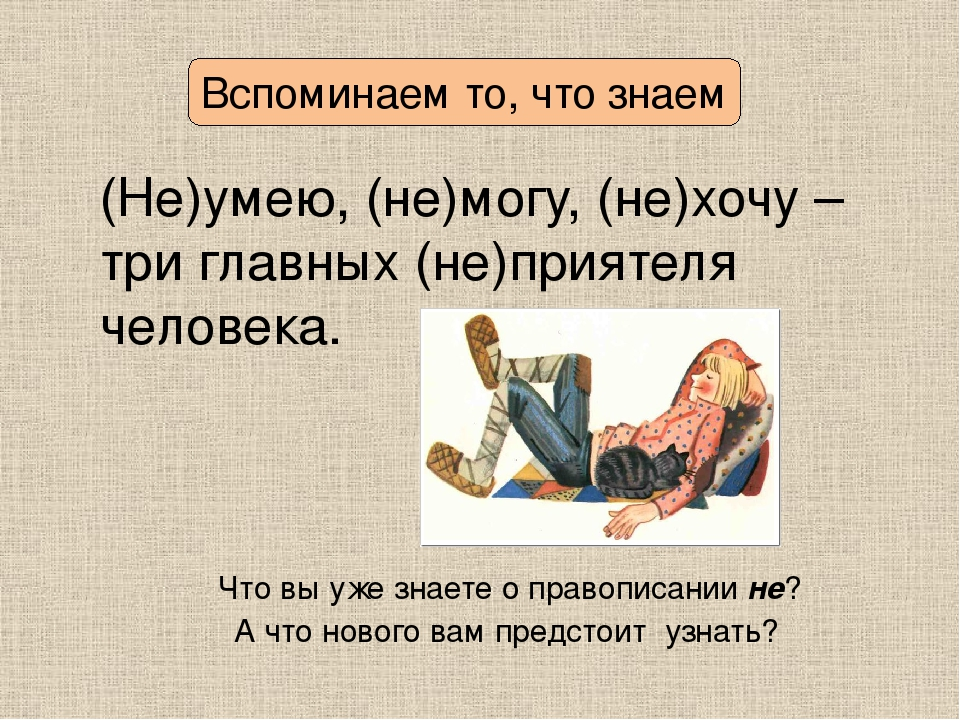 Вспоминаем то, что знаем (Не)умею, (не)могу, (не)хочу – три главных (не)прият...