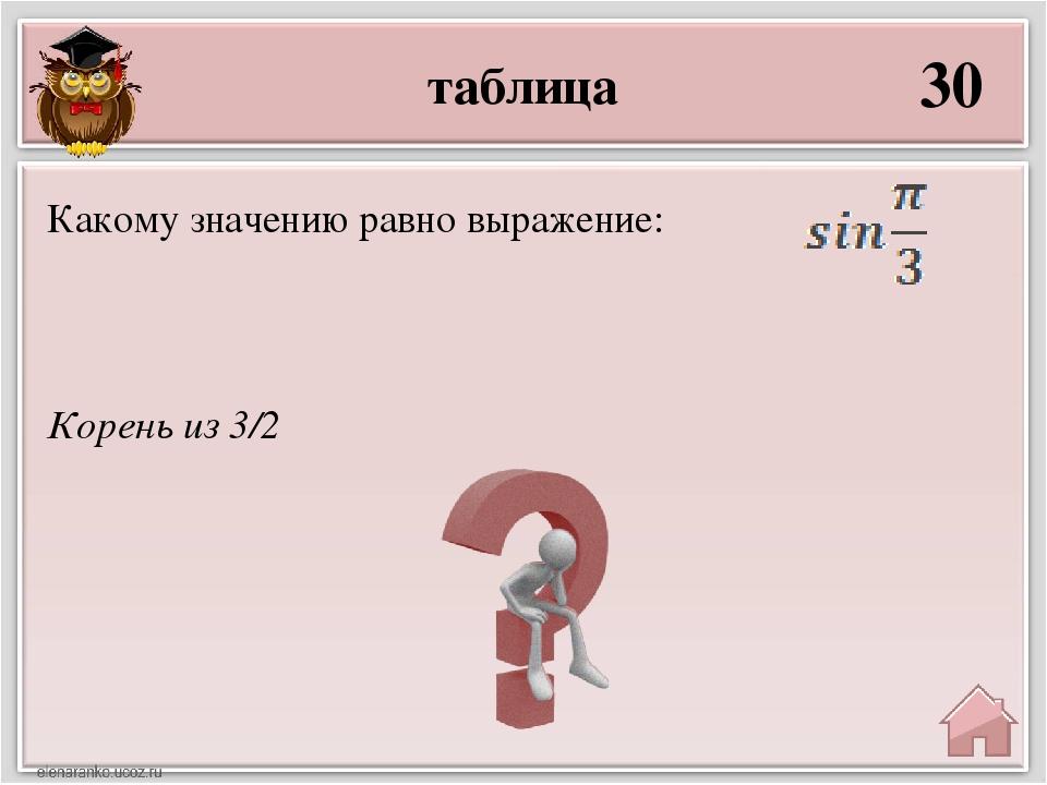 таблица 30 Корень из 3/2 Какому значению равно выражение: