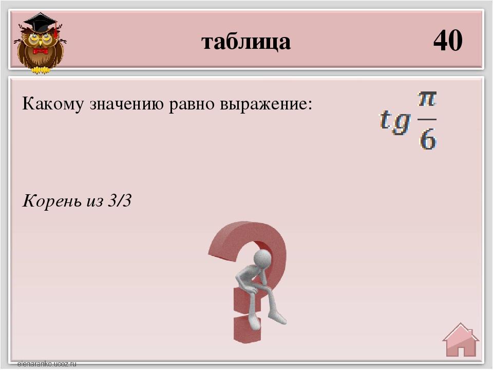 таблица 40 Корень из 3/3 Какому значению равно выражение: