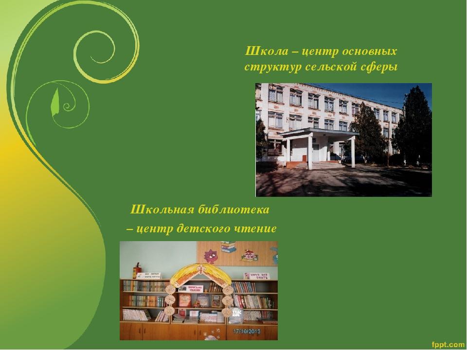 Школа – центр основных структур сельской сферы Школьная библиотека – центр де...