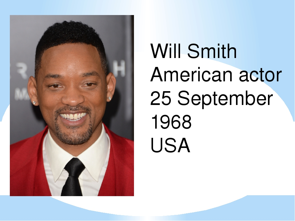 Will Smith American actor 25 September 1968 USA