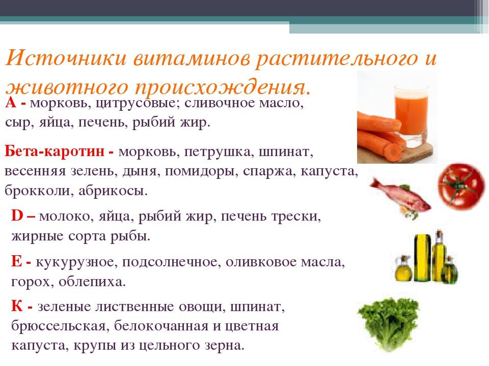 Источники витаминов растительного и животного происхождения. А - морковь, цит...