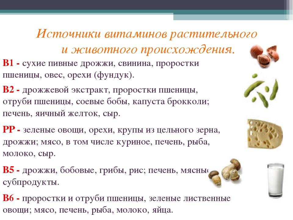Источники витаминов растительного и животного происхождения. В1 - сухие пивн...