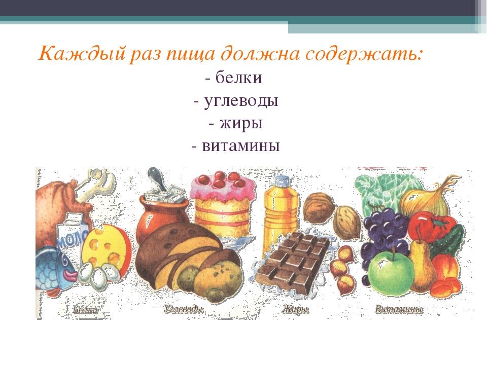 Каждый раз пища должна содержать: - белки - углеводы - жиры - витамины