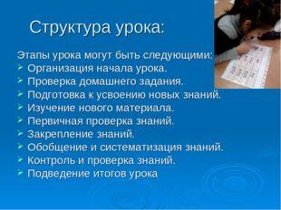 Структура урока: Этапы урока могут быть следующими: Организация начала урока.