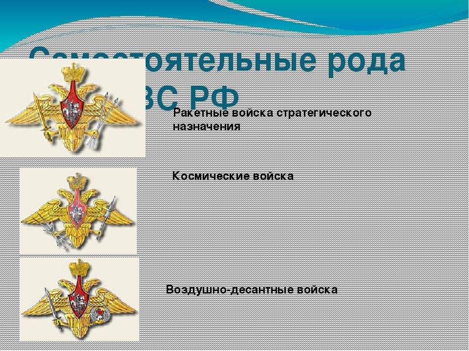 Самостоятельные рода войск ВС РФ Ракетные войска стратегического назначения К...