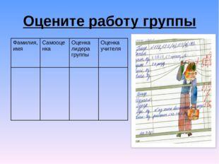 Оцените работу группы Фамилия, имяСамооценка Оценка лидера группыОценка уч