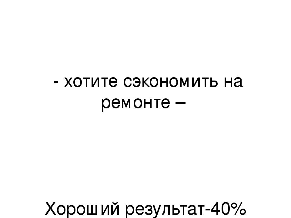 - хотите сэкономить на ремонте – Хороший результат-40% Уверенность в качеств...