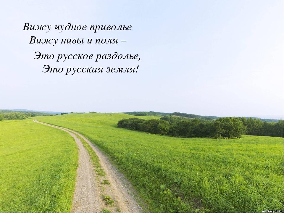 Вижу чудное приволье Вижу нивы и поля – Это русская земля! Это русское раздо...