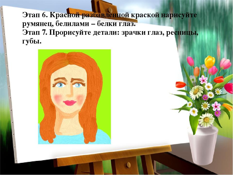 Этап 6. Красной разбавленной краской нарисуйте румянец, белилами – белки глаз...