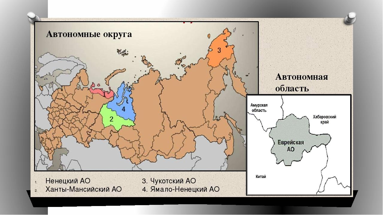 Автономная область Ненецкий АО Ханты-Мансийский АО 3. Чукотский АО 4. Ямало-Н...