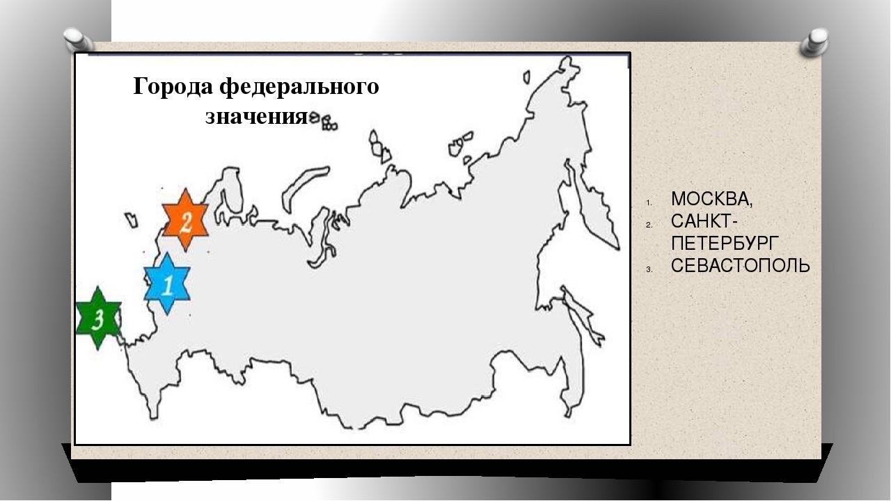 МОСКВА, САНКТ-ПЕТЕРБУРГ СЕВАСТОПОЛЬ Города федерального значения