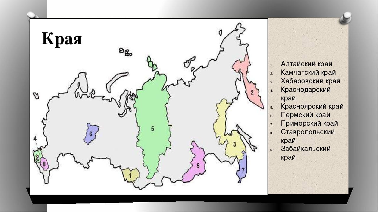 Алтайский край Камчатский край Хабаровский край Краснодарский край Красноярск...