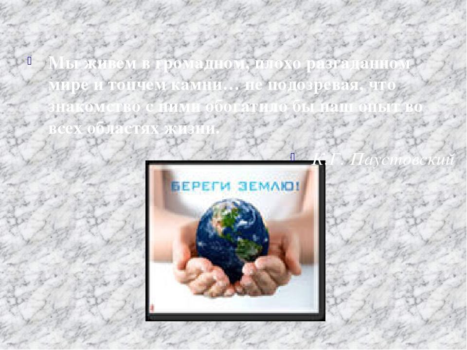 Мы живем в громадном, плохо разгаданном мире и топчем камни… не подозревая,...