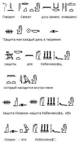 Египетские картинки и их расшифровка