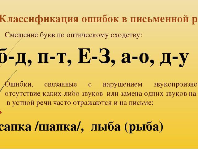 Классификация ошибок в письменной речи Смешение букв по оптическому сходству:...