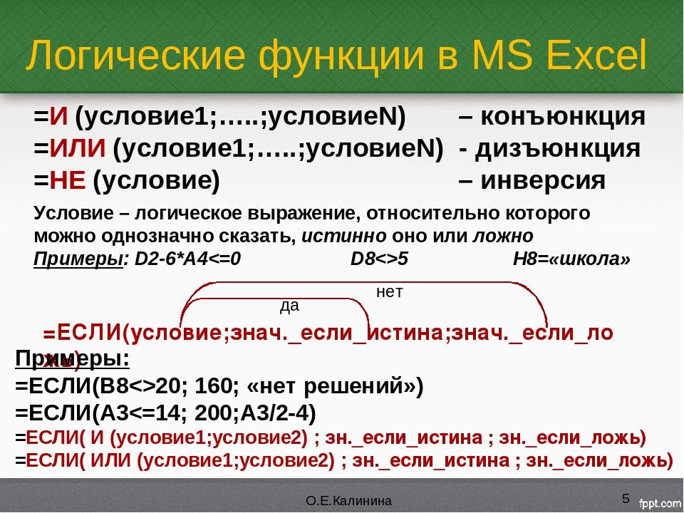 Логические функции в MS Excel * О.Е.Калинина =И (условие1;…..;условиеN) – кон...