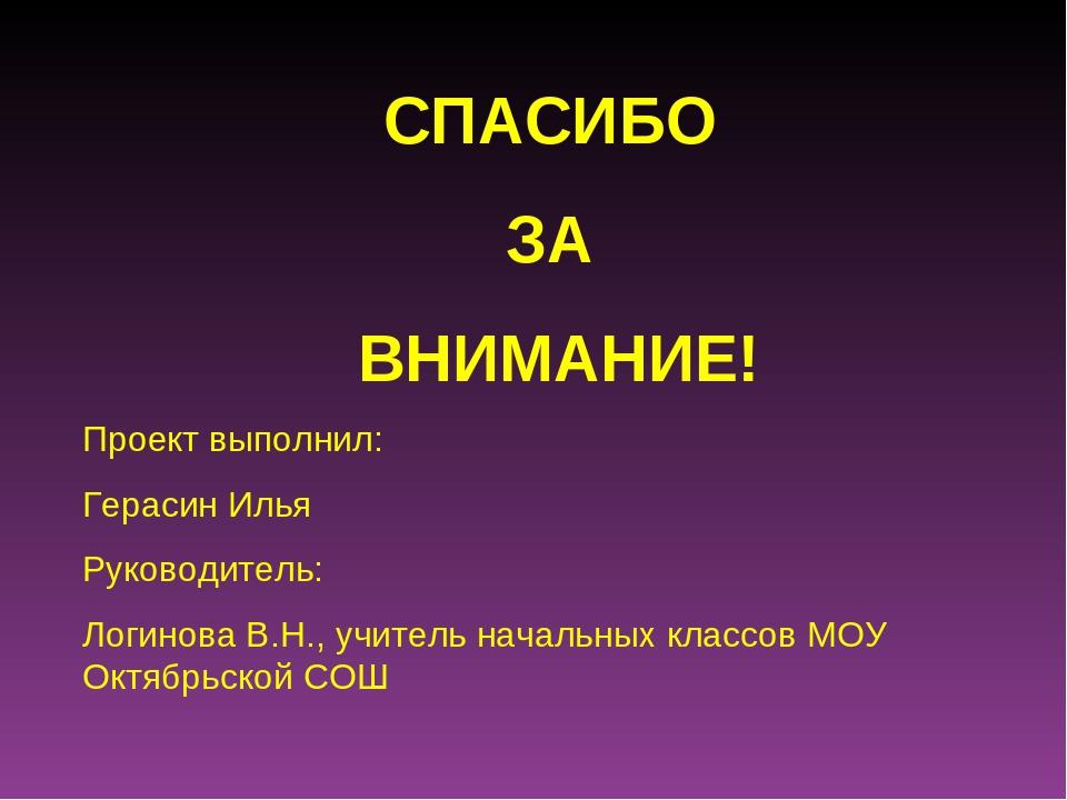 СПАСИБО ЗА ВНИМАНИЕ! Проект выполнил: Герасин Илья Руководитель: Логинова В.Н...