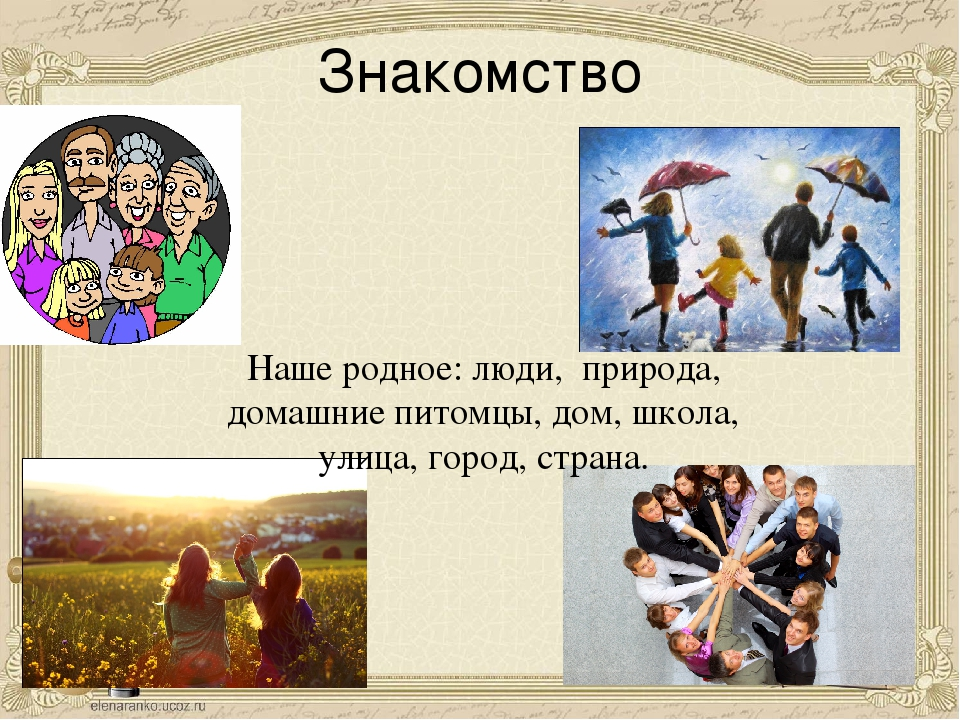Знакомство Наше родное: люди, природа, домашние питомцы, дом, школа, улица, г...