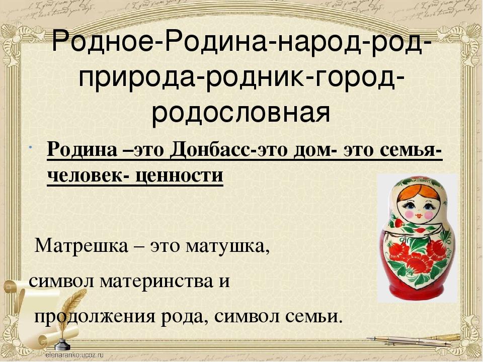 Родное-Родина-народ-род-природа-родник-город-родословная Родина –это Донбасс-...