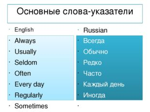 Основные слова-указатели English Always Usually Seldom Often Every day Regula