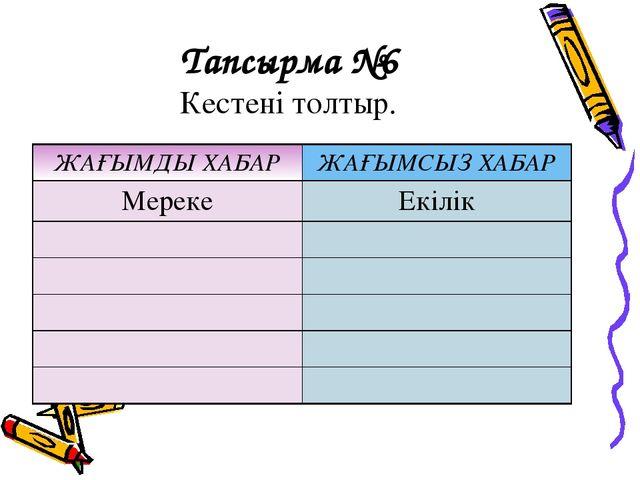 Тапсырма №6 Кестені толтыр. ЖАҒЫМДЫ ХАБАРЖАҒЫМСЫЗ ХАБАР МерекеЕкілік...