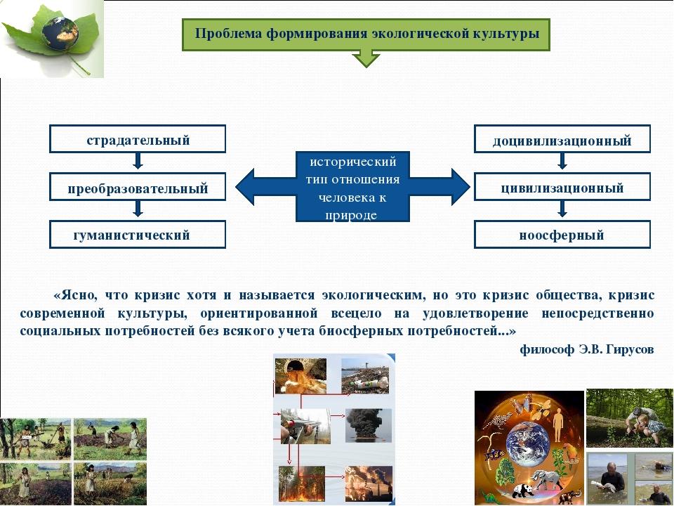 Проблема формирования экологической культуры исторический тип отношения челов...