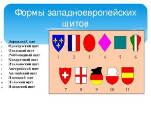 Формы западноевропейских щитов Варяжский щит Французский щит Овальный щит Ром