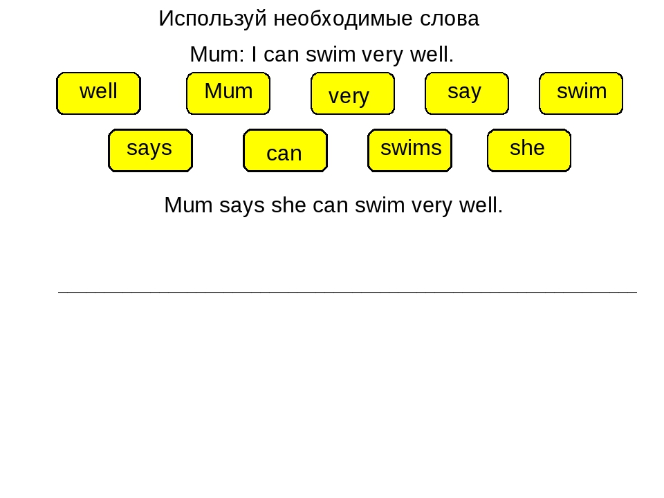 Используй необходимые слова Mum: I can swim very well. Mum can swim very well...