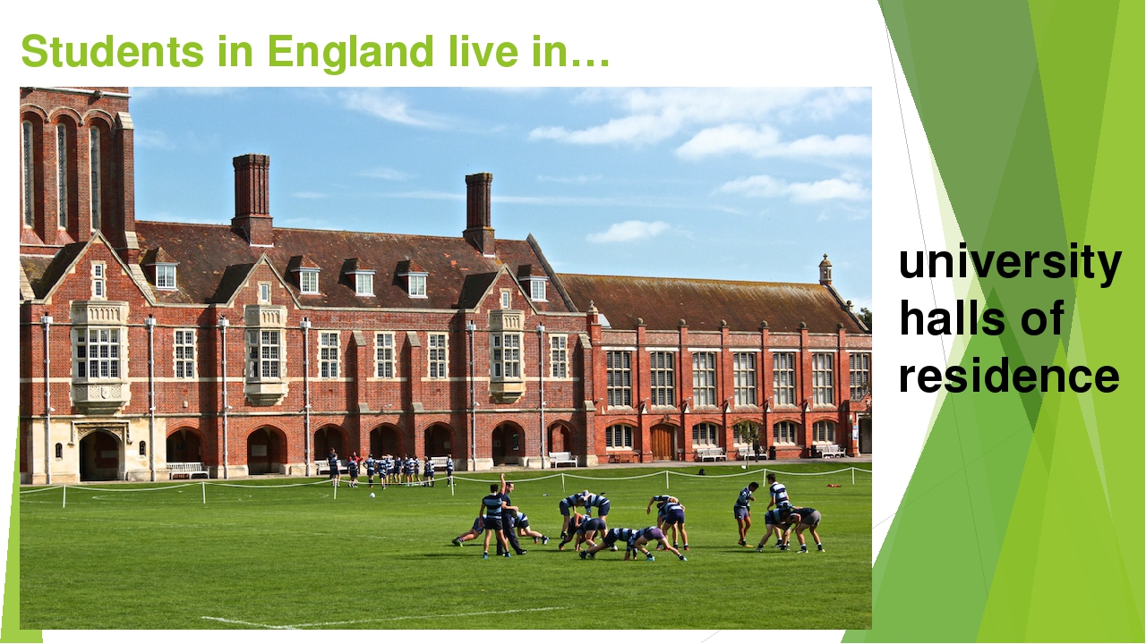 Students in England live in… university halls of residence