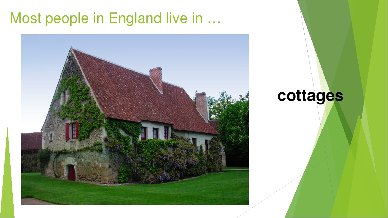 Most people in England live in … cottages