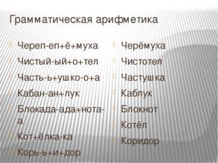 Грамматическая арифметика Череп-еп+ё+муха Чистый-ый+о+тел Часть-ь+ушко-о+а Ка