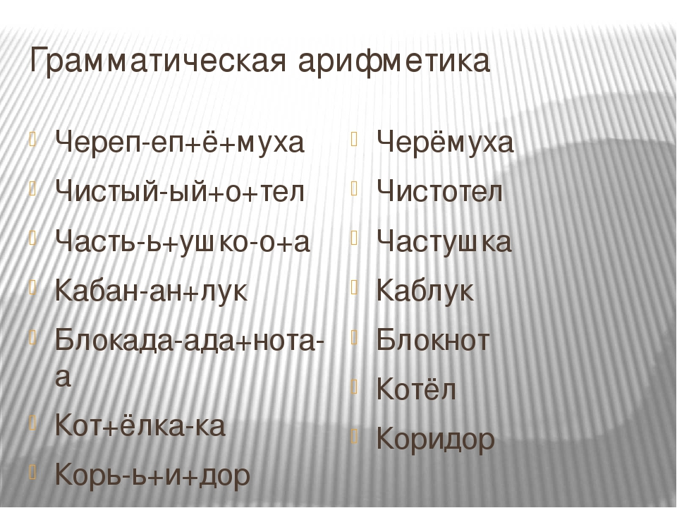 Грамматическая арифметика Череп-еп+ё+муха Чистый-ый+о+тел Часть-ь+ушко-о+а Ка...