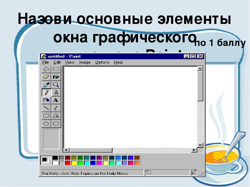 Назови основные элементы окна графического редактора Paint. по 1 баллу