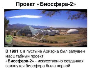 Проект «Биосфера-2» В 1991 г. в пустыне Аризона был запущен масштабный проект