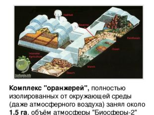 """Комплекс """"оранжерей"""", полностью изолированных от окружающей среды (даже атмос"""