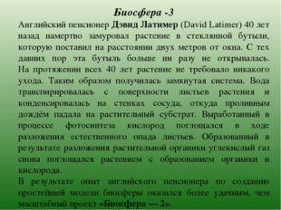 Биосфера -3 Английский пенсионер Дэвид Латимер (David Latimer) 40 лет назад н